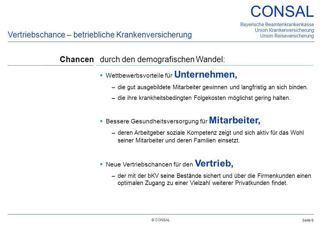 © CONSAL Bayerische Beamtenkrankenkasse Union Krankenversicherung Union Reiseversicherung CONSAL Seite 6 Vertriebschance – betriebliche Krankenversich