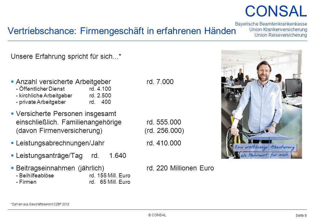 © CONSAL Bayerische Beamtenkrankenkasse Union Krankenversicherung Union Reiseversicherung CONSAL Seite 8 Vertriebschance: Firmengeschäft in erfahrenen