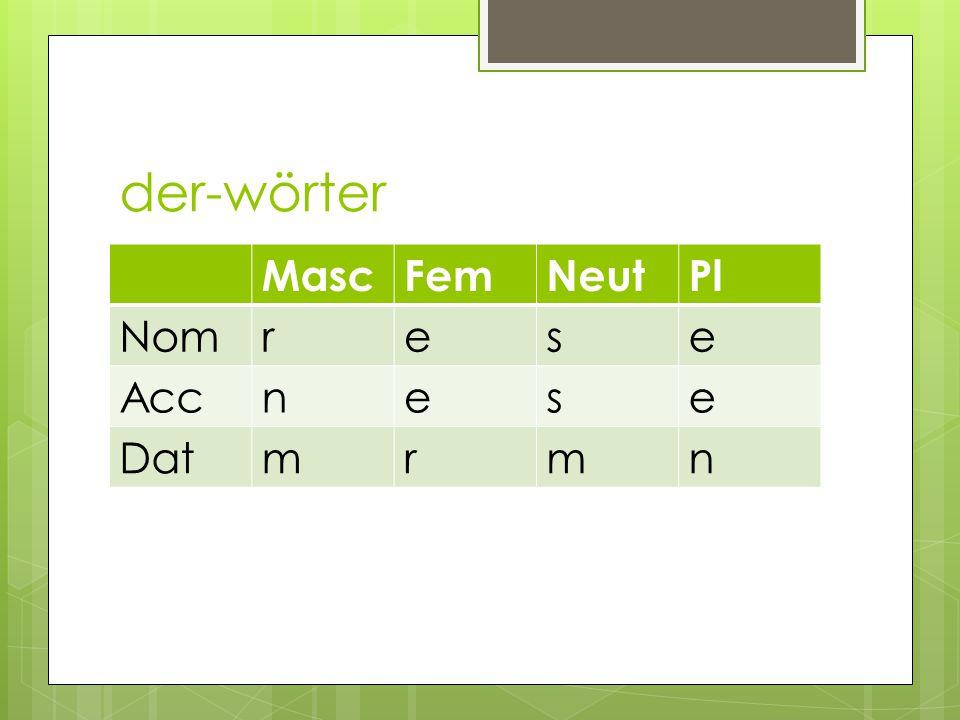 der-wörter MascFemNeutPl Nomrese Accnese Datmrmn