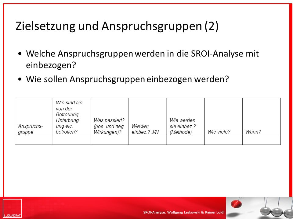 L QUADRAT SROI-Analyse: Wolfgang Laskowski & Rainer Loidl Welche Anspruchsgruppen werden in die SROI-Analyse mit einbezogen? Wie sollen Anspruchsgrupp