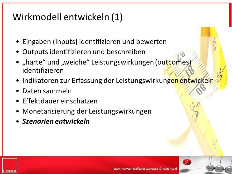 """L QUADRAT SROI-Analyse: Wolfgang Laskowski & Rainer Loidl Wirkmodell entwickeln (1) Eingaben (Inputs) identifizieren und bewerten Outputs identifizieren und beschreiben """"harte und """"weiche Leistungswirkungen (outcomes) identifizieren Indikatoren zur Erfassung der Leistungswirkungen entwickeln Daten sammeln Effektdauer einschätzen Monetarisierung der Leistungswirkungen Szenarien entwickeln"""