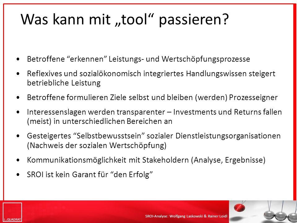 "L QUADRAT SROI-Analyse: Wolfgang Laskowski & Rainer Loidl Was kann mit ""tool passieren."