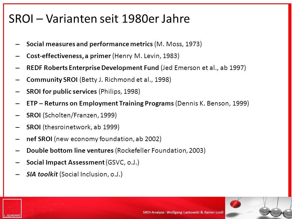 L QUADRAT SROI-Analyse: Wolfgang Laskowski & Rainer Loidl SROI-Meta-Analyse (CSI Heidelberg 2013) Quelle: Krlev, Gorgi; Münscher, Robert; Mülbert, Katharina (2013): Social Return on Investment (SROI): State-of-the-Art and Perspectives.