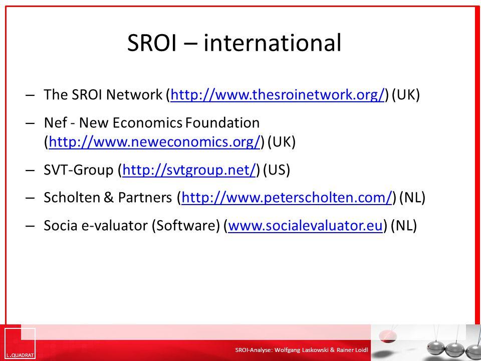 L QUADRAT SROI-Analyse: Wolfgang Laskowski & Rainer Loidl SROI – international – The SROI Network (http://www.thesroinetwork.org/) (UK)http://www.thes