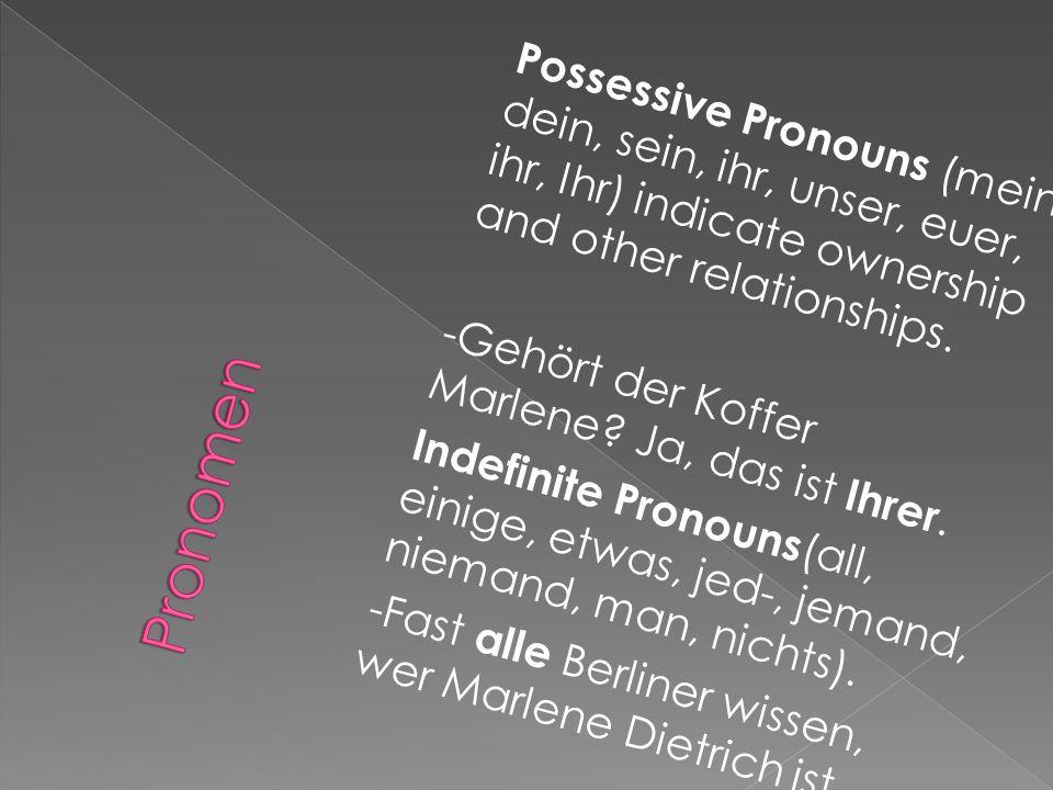Possessive Pronouns (mein, dein, sein, ihr, unser, euer, ihr, Ihr) indicate ownership and other relationships.
