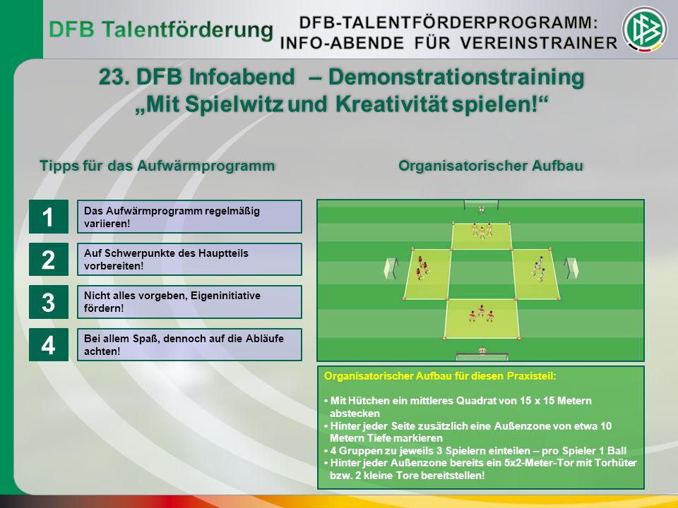 23. DFB Infoabend – Demonstrationstraining Tipps für das Aufwärmprogramm Organisatorischer Aufbau Organisatorischer Aufbau für diesen Praxisteil: Mit