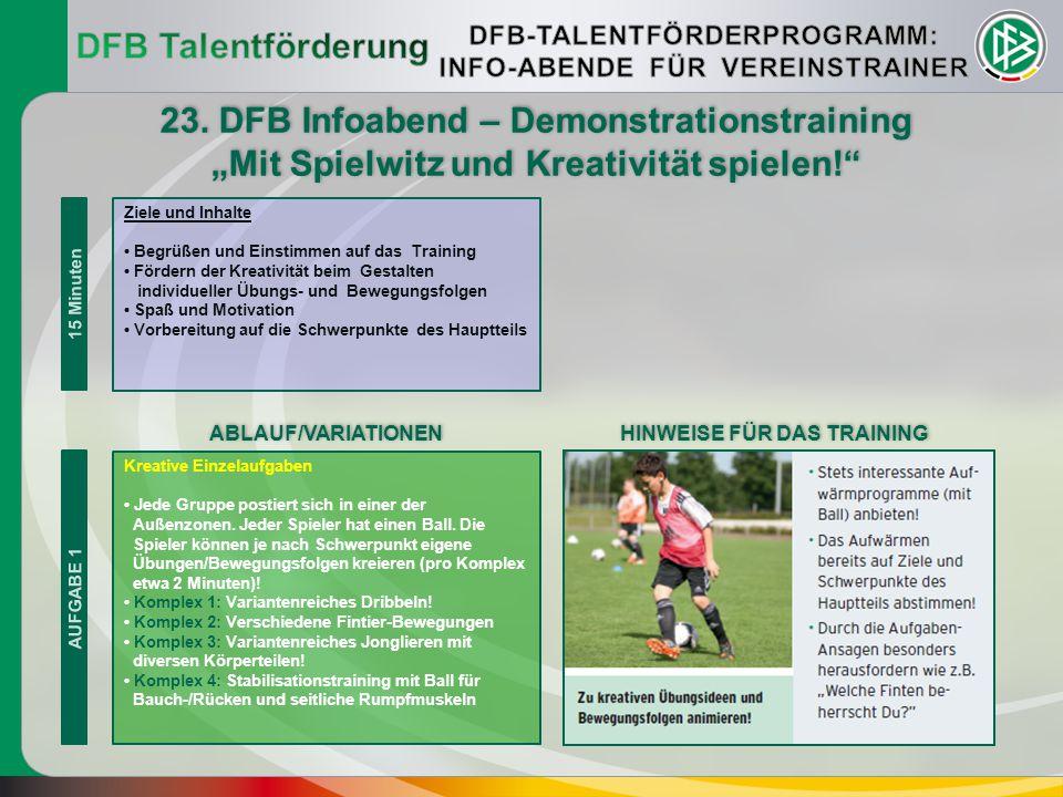 """15 Minuten 23. DFB Infoabend – Demonstrationstraining """"Mit Spielwitz und Kreativität spielen!"""" 23. DFB Infoabend – Demonstrationstraining """"Mit Spielwi"""