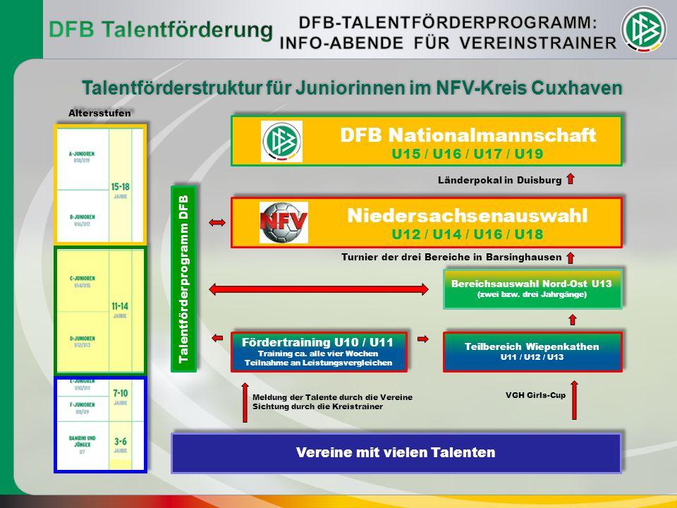 Das Talentförderprogramm des DFB  366 flächendeckende Stützpunkte  Ein Stützpunkt für etwa 70 Vereine  29 Stützpunkt-Koordinatoren (Hauptamtlich, beim DFB angestellt)  ca.1000 Honorartrainer (2–4 Honorartrainer pro Stützpunkt für die Trainingsgruppen)