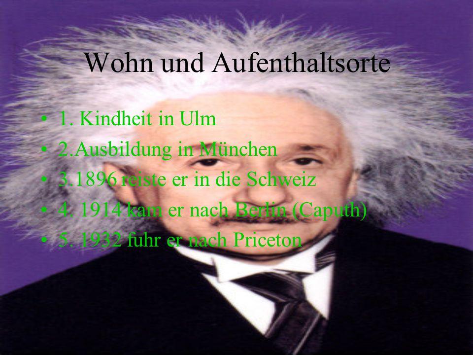 Wohn und Aufenthaltsorte 1. Kindheit in Ulm 2.Ausbildung in München 3.1896 reiste er in die Schweiz 4. 1914 kam er nach Berlin (Caputh) 5. 1932 fuhr e