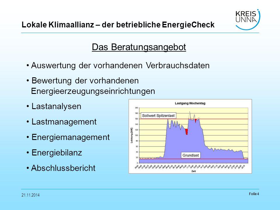 21.11.2014 Folie 4 Lokale Klimaallianz – der betriebliche EnergieCheck Das Beratungsangebot Auswertung der vorhandenen Verbrauchsdaten Bewertung der vorhandenen Energieerzeugungseinrichtungen Lastanalysen Lastmanagement Energiemanagement Energiebilanz Abschlussbericht