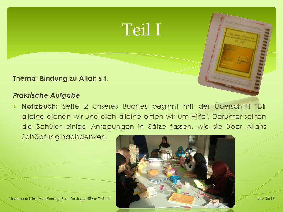 Thema: Bindung zu Allah s.t. Praktische Aufgabe  Notizbuch: Seite 2 unseres Buches beginnt mit der Überschrift