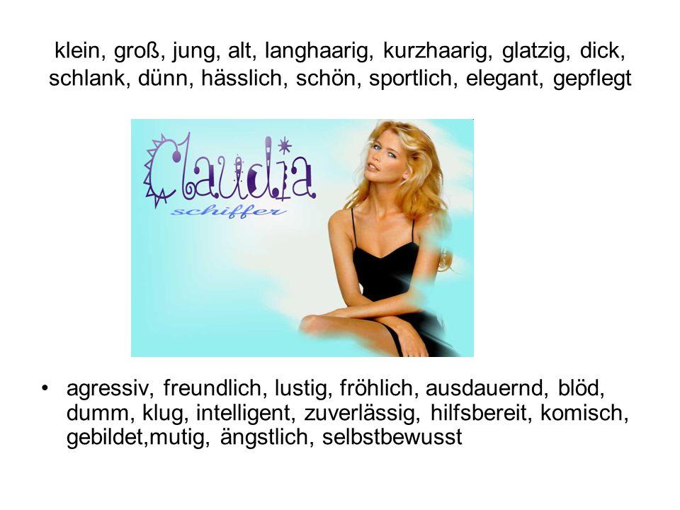 klein, groß, jung, alt, langhaarig, kurzhaarig, glatzig, dick, schlank, dünn, hässlich, schön, sportlich, elegant, gepflegt agressiv, freundlich, lust