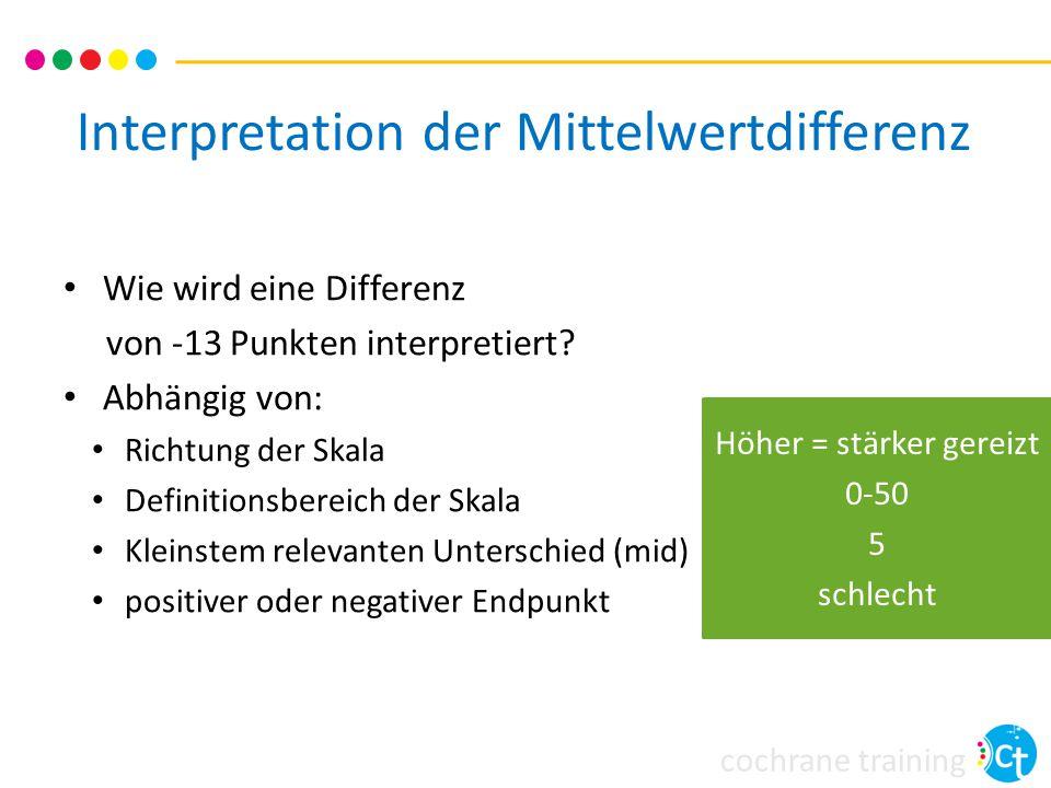 cochrane training Interpretation der Mittelwertdifferenz Wie wird eine Differenz von -13 Punkten interpretiert? Abhängig von: Richtung der Skala Defin
