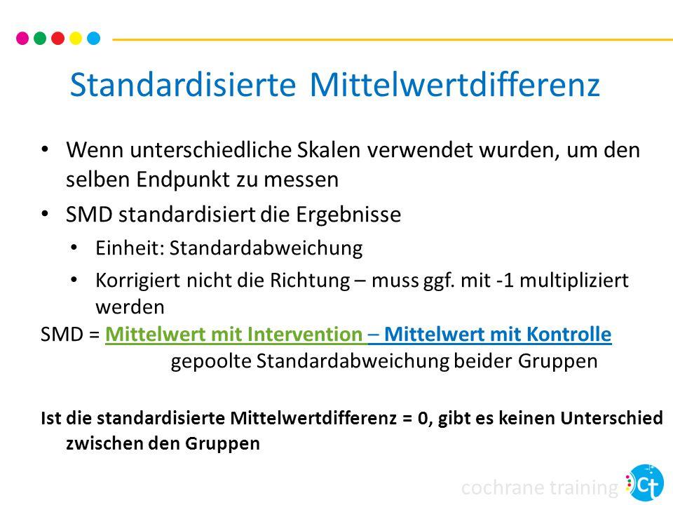 cochrane training Standardisierte Mittelwertdifferenz Wenn unterschiedliche Skalen verwendet wurden, um den selben Endpunkt zu messen SMD standardisiert die Ergebnisse Einheit: Standardabweichung Korrigiert nicht die Richtung – muss ggf.