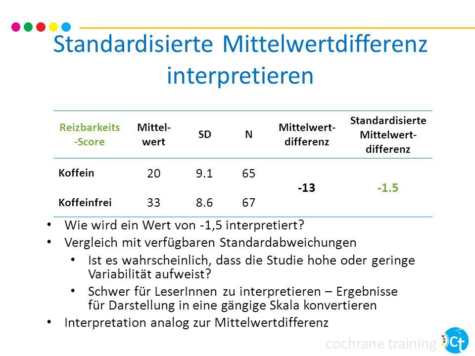cochrane training Standardisierte Mittelwertdifferenz interpretieren Reizbarkeits -Score Mittel- wert SDN Mittelwert- differenz Standardisierte Mittelwert- differenz Koffein 209.165 -13-1.5 Koffeinfrei 338.667 Wie wird ein Wert von -1,5 interpretiert.