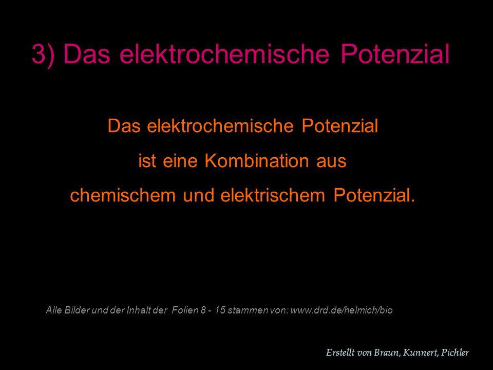 Erstellt von Braun, Kunnert, Pichler 3) Das elektrochemische Potenzial Das elektrochemische Potenzial ist eine Kombination aus chemischem und elektrischem Potenzial.