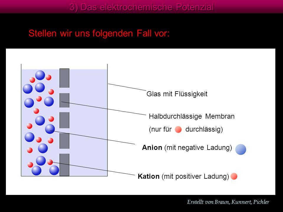 Erstellt von Braun, Kunnert, Pichler 3) Das elektrochemische Potenzial Stellen wir uns folgenden Fall vor: Anion (mit negative Ladung) Kation (mit positiver Ladung) Glas mit Flüssigkeit Halbdurchlässige Membran (nur für durchlässig)