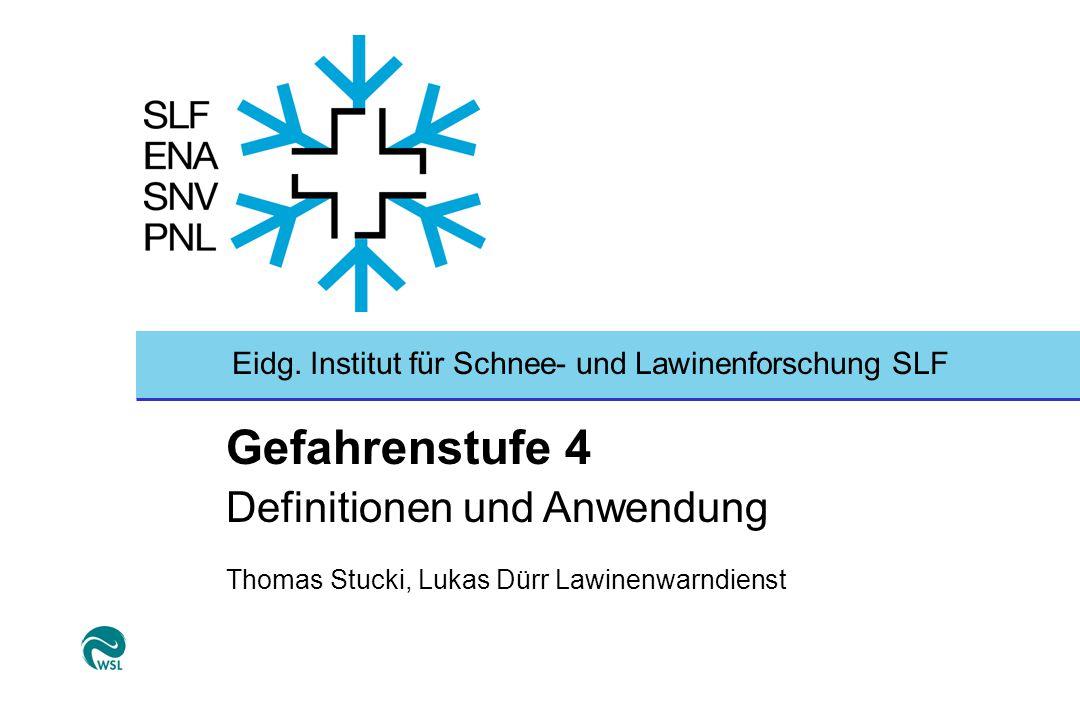 Eidg. Institut für Schnee- und Lawinenforschung SLF Gefahrenstufe 4 Definitionen und Anwendung Thomas Stucki, Lukas Dürr Lawinenwarndienst