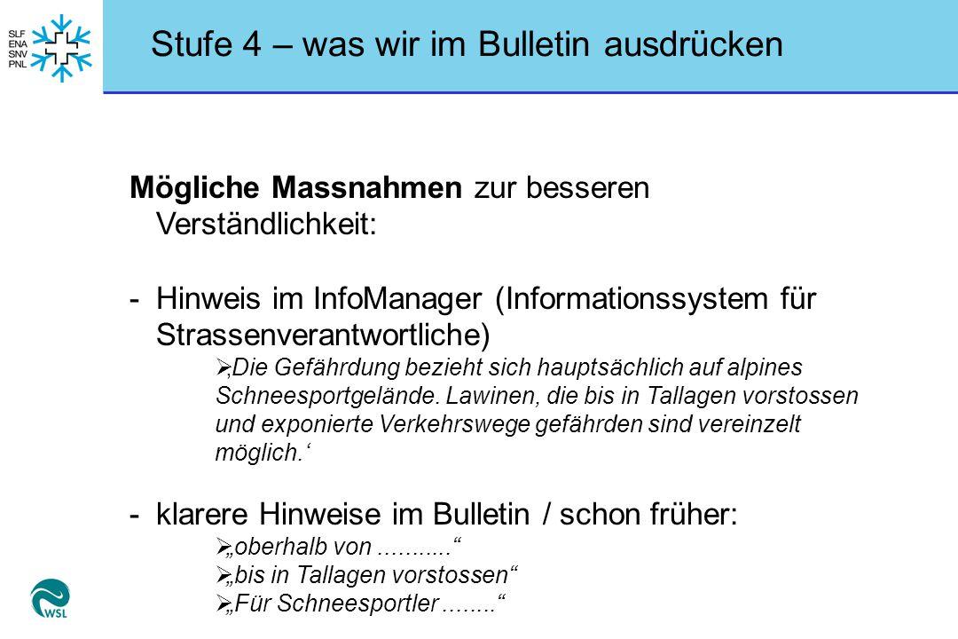 Stufe 4 – was wir im Bulletin ausdrücken Mögliche Massnahmen zur besseren Verständlichkeit: -Hinweis im InfoManager (Informationssystem für Strassenve