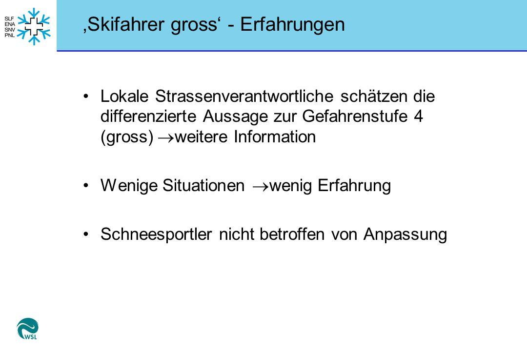 'Skifahrer gross' - Erfahrungen Lokale Strassenverantwortliche schätzen die differenzierte Aussage zur Gefahrenstufe 4 (gross)  weitere Information W