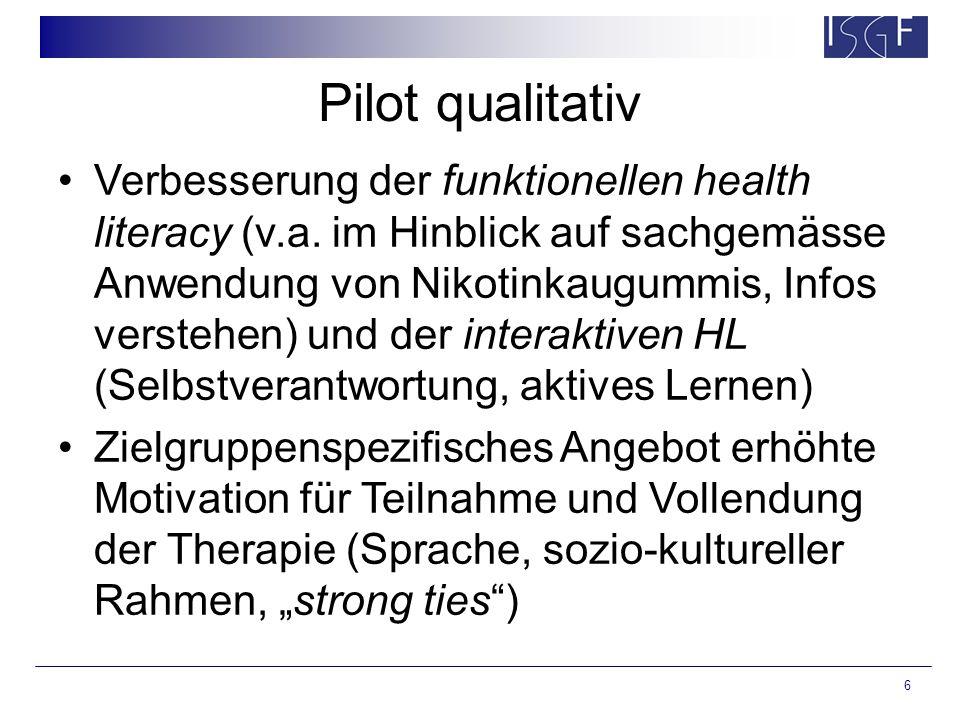 6 Pilot qualitativ Verbesserung der funktionellen health literacy (v.a. im Hinblick auf sachgemässe Anwendung von Nikotinkaugummis, Infos verstehen) u