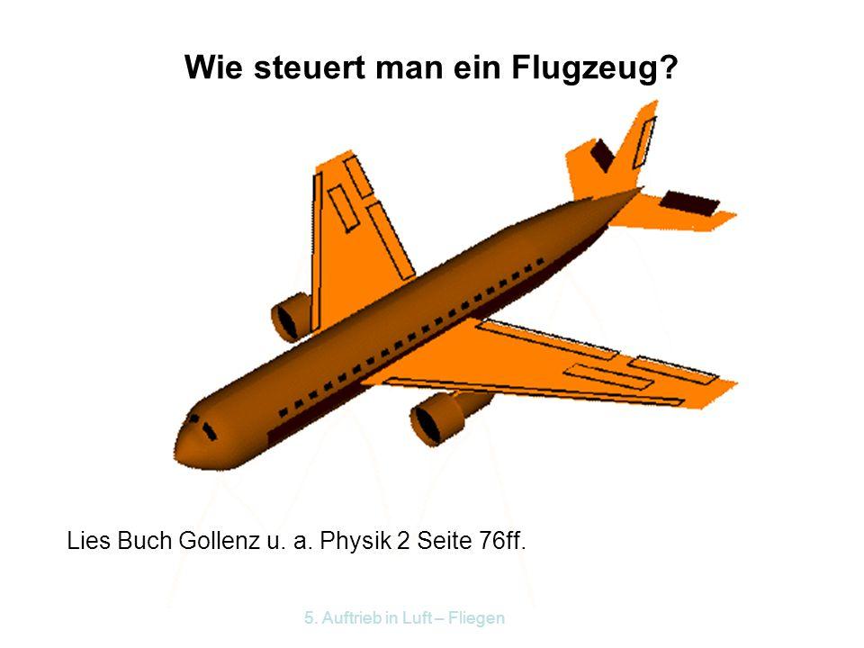 5. Auftrieb in Luft – Fliegen Kräfte am Flugzeug Vortrieb Dynamischer Auftrieb Gewicht Reibung Der dynamische Auftrieb gleicht das Gewicht aus, die Sc