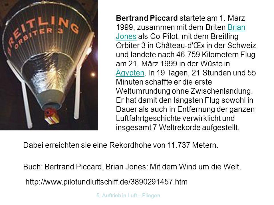 5.Auftrieb in Luft – Fliegen Bertrand Piccard startete am 1.