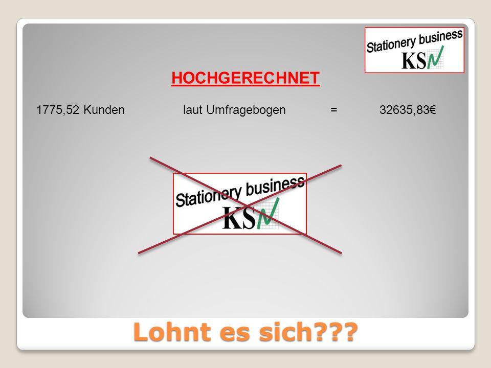 Lohnt es sich??? 1775,52 Kundenlaut Umfragebogen=32635,83€ HOCHGERECHNET