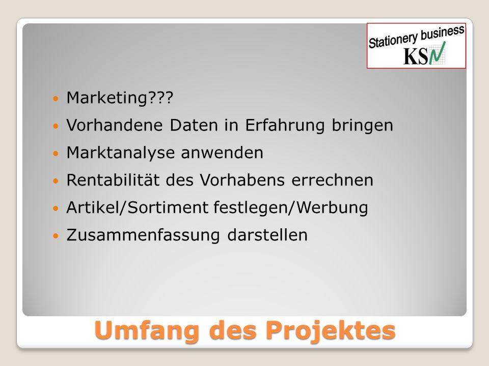 Umfang des Projektes Marketing??? Vorhandene Daten in Erfahrung bringen Marktanalyse anwenden Rentabilität des Vorhabens errechnen Artikel/Sortiment f