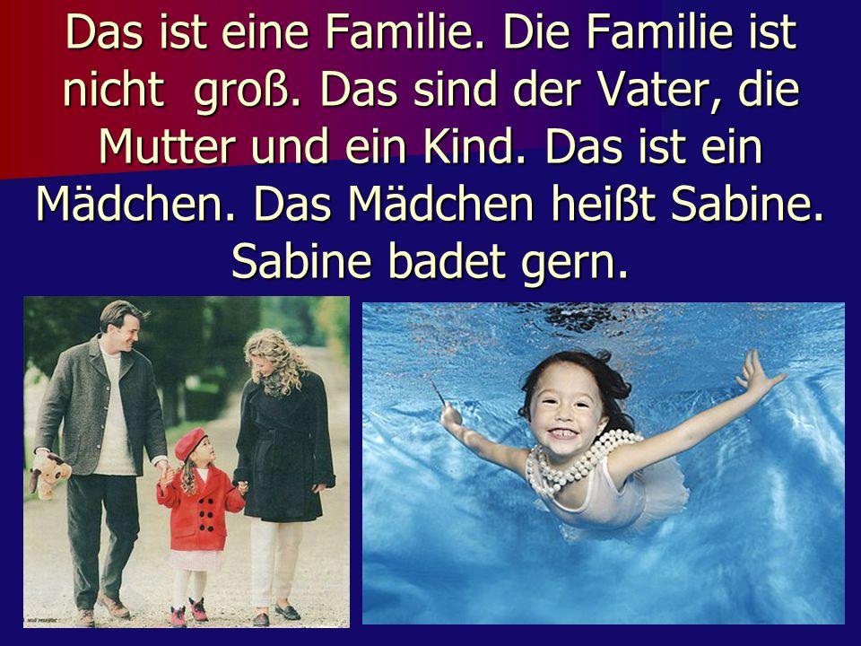 Das ist eine Familie. Die Familie ist nicht groß. Das sind der Vater, die Mutter und ein Kind. Das ist ein Mädchen. Das Mädchen heißt Sabine. Sabine b