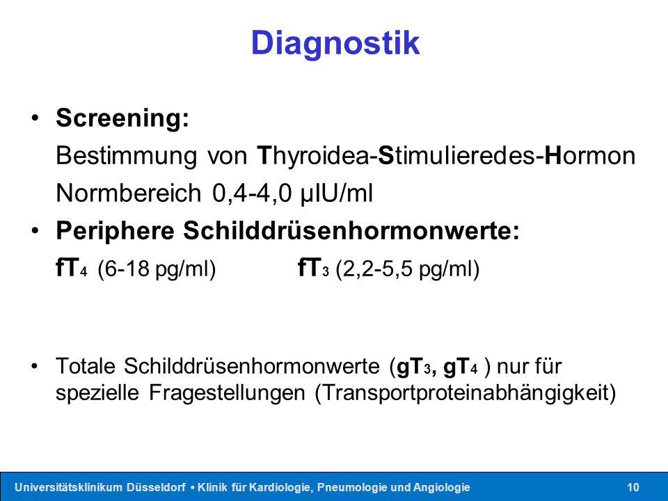 Universitätsklinikum Düsseldorf Klinik für Kardiologie, Pneumologie und Angiologie10 Diagnostik Screening: Bestimmung von Thyroidea-Stimulieredes-Horm
