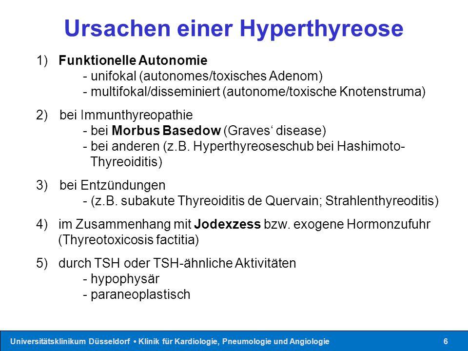 Universitätsklinikum Düsseldorf Klinik für Kardiologie, Pneumologie und Angiologie17 Wirkung Perchlorat (Jodidaufnahme) Schwefelhaltige Thyreostatika (Synthese von MJT/DJT) β-Blocker (T4→T3 Konversion, HF)