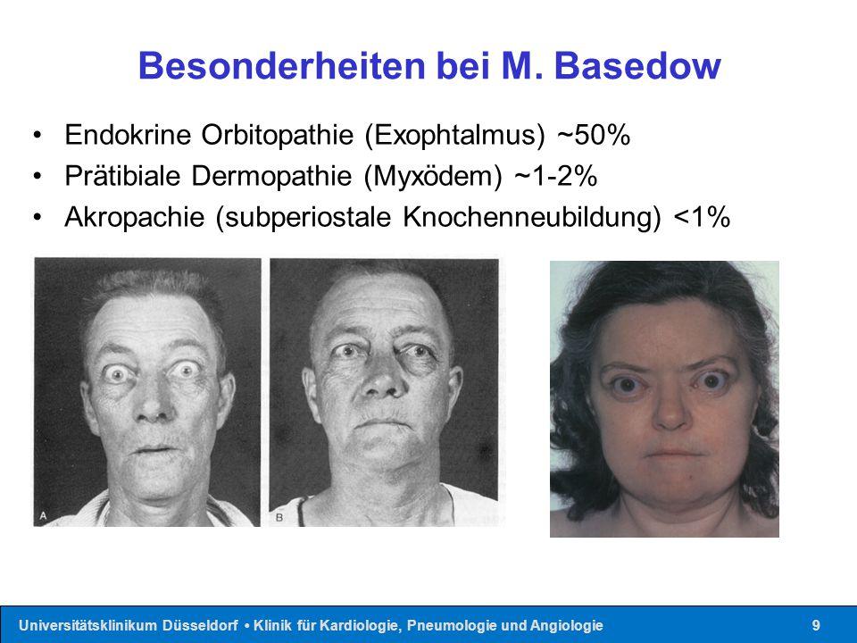 Universitätsklinikum Düsseldorf Klinik für Kardiologie, Pneumologie und Angiologie10 Diagnostik Screening: Bestimmung von Thyroidea-Stimulieredes-Hormon Normbereich 0,4-4,0 µIU/ml Periphere Schilddrüsenhormonwerte: fT 4 (6-18 pg/ml) fT 3 (2,2-5,5 pg/ml) Totale Schilddrüsenhormonwerte (gT 3, gT 4 ) nur für spezielle Fragestellungen (Transportproteinabhängigkeit)