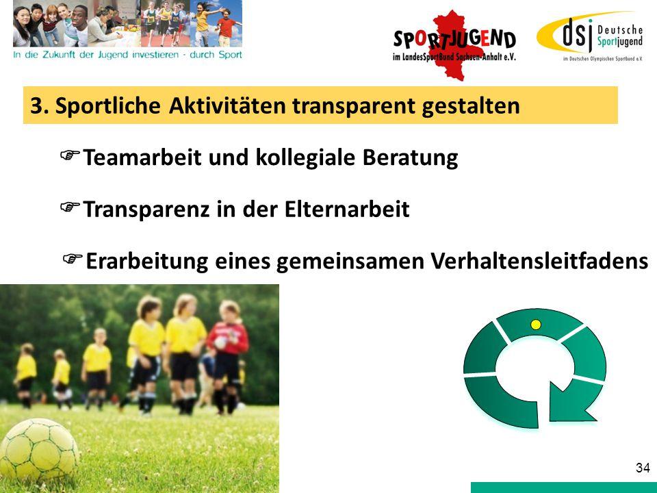3. Sportliche Aktivitäten transparent gestalten  Teamarbeit und kollegiale Beratung  Transparenz in der Elternarbeit  Erarbeitung eines gemeinsamen