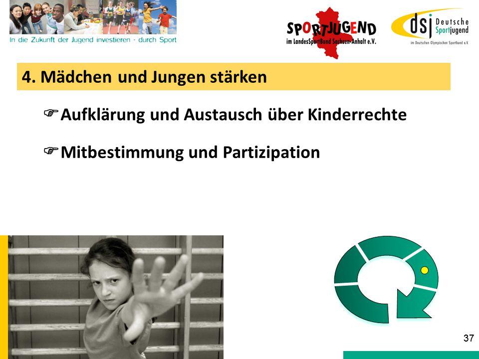 4. Mädchen und Jungen stärken  Aufklärung und Austausch über Kinderrechte  Mitbestimmung und Partizipation 37