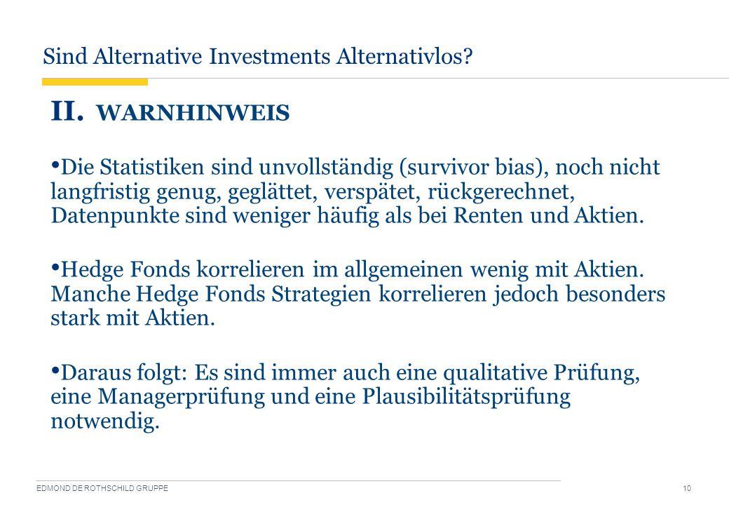 Sind Alternative Investments Alternativlos? EDMOND DE ROTHSCHILD GRUPPE 10 II. WARNHINWEIS Die Statistiken sind unvollständig (survivor bias), noch ni