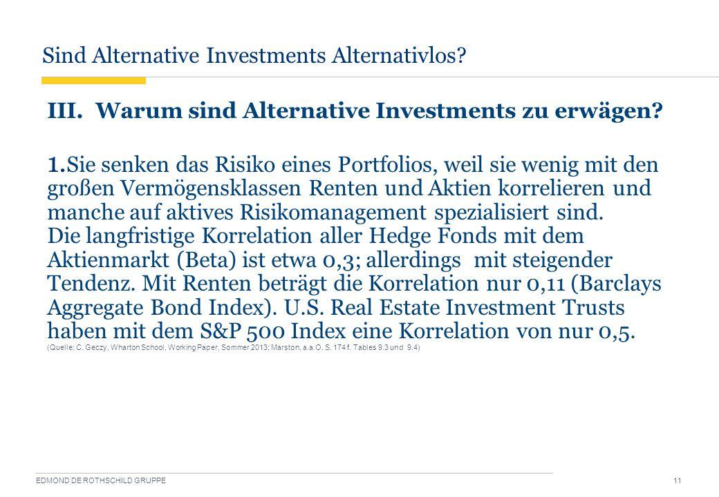 Sind Alternative Investments Alternativlos? EDMOND DE ROTHSCHILD GRUPPE 11 III. Warum sind Alternative Investments zu erwägen? 1. Sie senken das Risik