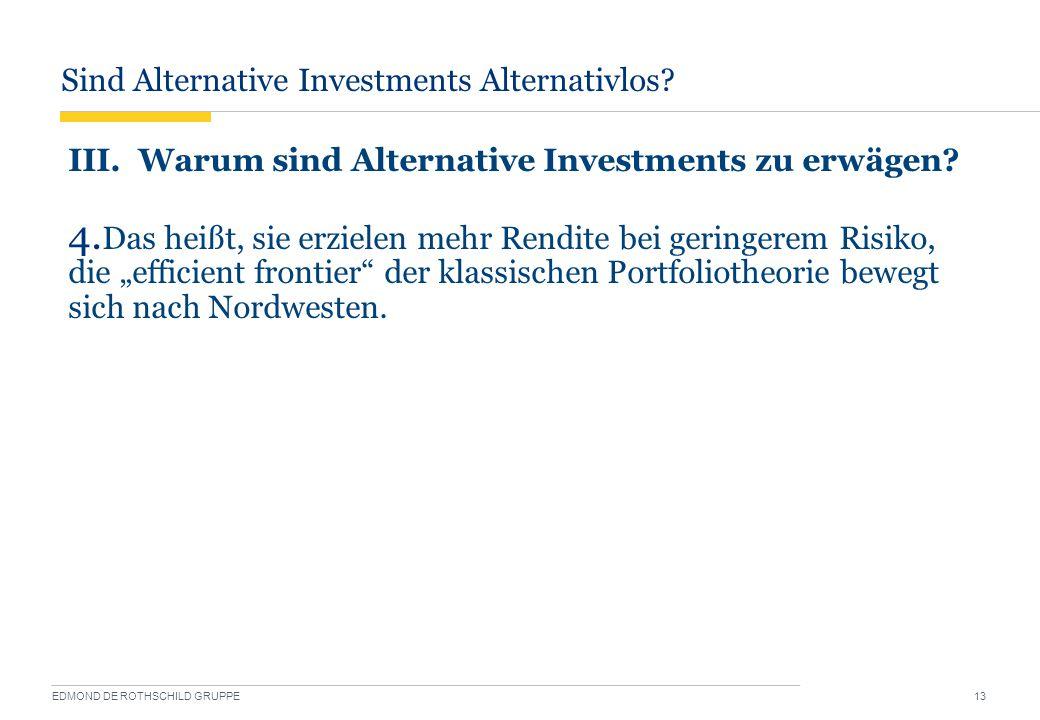 Sind Alternative Investments Alternativlos? EDMOND DE ROTHSCHILD GRUPPE 13 III. Warum sind Alternative Investments zu erwägen? 4. Das heißt, sie erzie