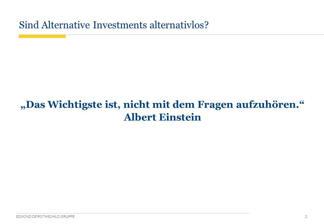 """Sind Alternative Investments alternativlos? EDMOND DE ROTHSCHILD GRUPPE 2 """"Das Wichtigste ist, nicht mit dem Fragen aufzuhören."""" Albert Einstein"""