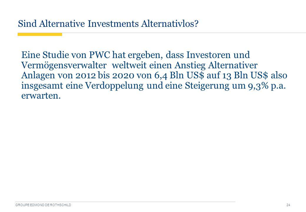 Sind Alternative Investments Alternativlos? GROUPE EDMOND DE ROTHSCHILD 24 Eine Studie von PWC hat ergeben, dass Investoren und Vermögensverwalter wel