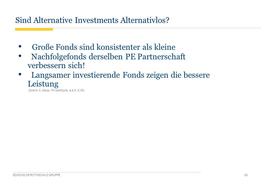 Sind Alternative Investments Alternativlos? EDMOND DE ROTHSCHILD GRUPPE 29 Große Fonds sind konsistenter als kleine Nachfolgefonds derselben PE Partne