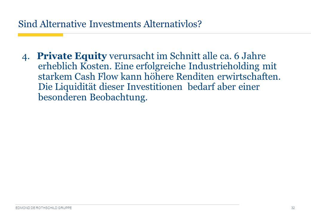 Sind Alternative Investments Alternativlos? EDMOND DE ROTHSCHILD GRUPPE 32 4. Private Equity verursacht im Schnitt alle ca. 6 Jahre erheblich Kosten.