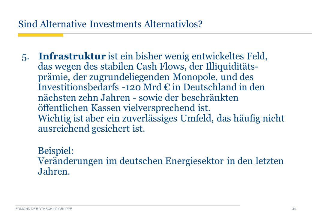 Sind Alternative Investments Alternativlos? EDMOND DE ROTHSCHILD GRUPPE 34 5. Infrastruktur ist ein bisher wenig entwickeltes Feld, das wegen des stab