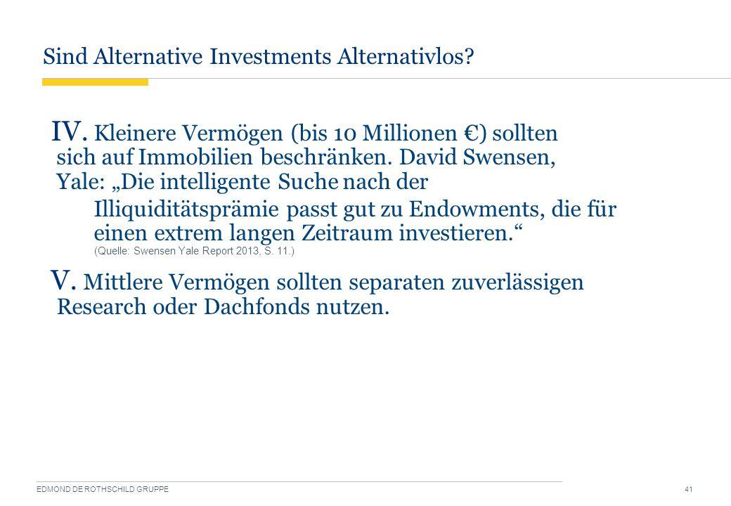 Sind Alternative Investments Alternativlos? EDMOND DE ROTHSCHILD GRUPPE 41 IV. Kleinere Vermögen (bis 10 Millionen €) sollten sich auf Immobilien besc
