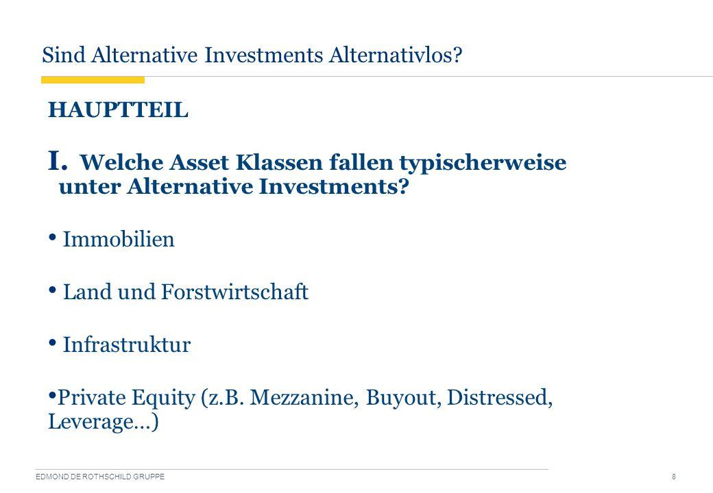 Sind Alternative Investments Alternativlos? EDMOND DE ROTHSCHILD GRUPPE 8 HAUPTTEIL I. Welche Asset Klassen fallen typischerweise unter Alternative In