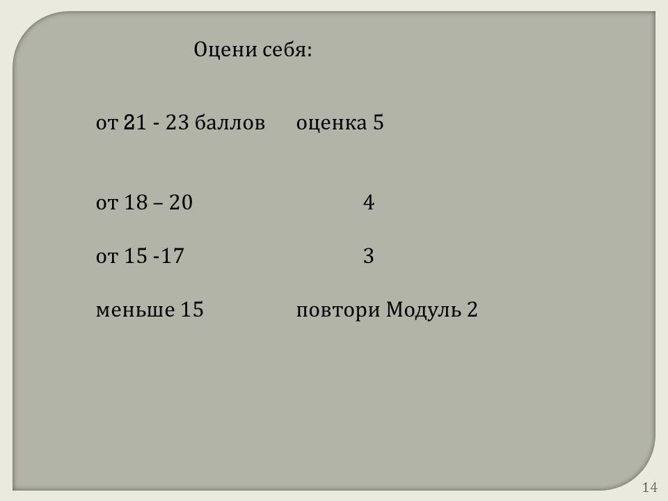 от 2 1 - 23 балловоценка 5 от 18 – 204 от 15 -173 меньше 15повтори Модуль 2 Оцени себя: 14