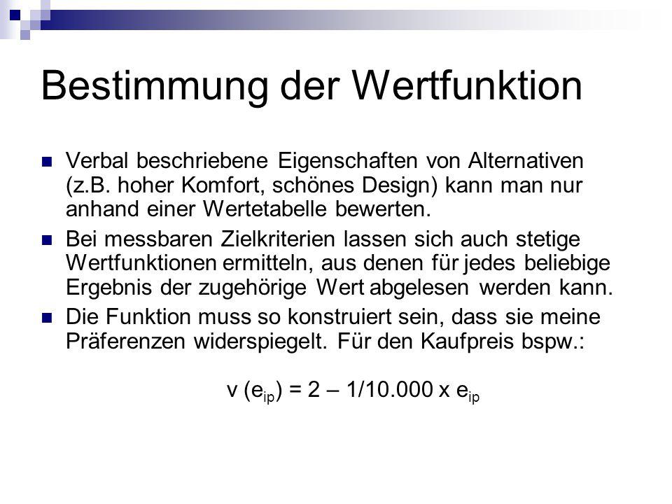 Bestimmung der Wertfunktion Verbal beschriebene Eigenschaften von Alternativen (z.B.