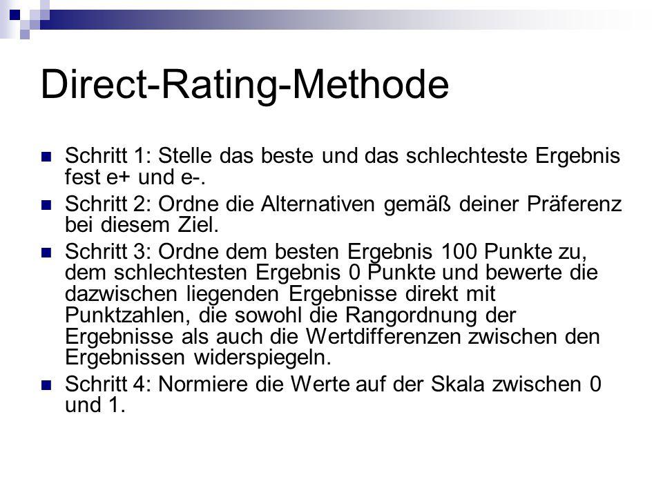 Direct-Rating-Methode Schritt 1: Stelle das beste und das schlechteste Ergebnis fest e+ und e-. Schritt 2: Ordne die Alternativen gemäß deiner Präfere