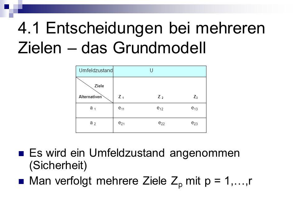 4.1 Entscheidungen bei mehreren Zielen – das Grundmodell Es wird ein Umfeldzustand angenommen (Sicherheit) Man verfolgt mehrere Ziele Z p mit p = 1,…,