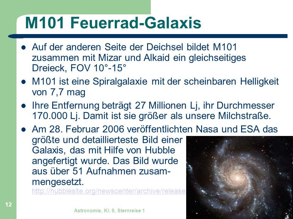 Astronomie, Kl. 9, Sternreise 1 GZG FN W.Seyboldt 12 M101 Feuerrad-Galaxis Auf der anderen Seite der Deichsel bildet M101 zusammen mit Mizar und Alkai